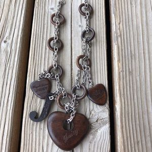 Fab Juicy Couture Silver & Wood Statement Necklace